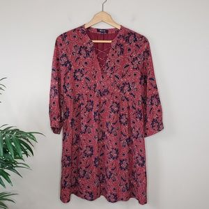 Madewell   Rust Assam Floral Silk Dress